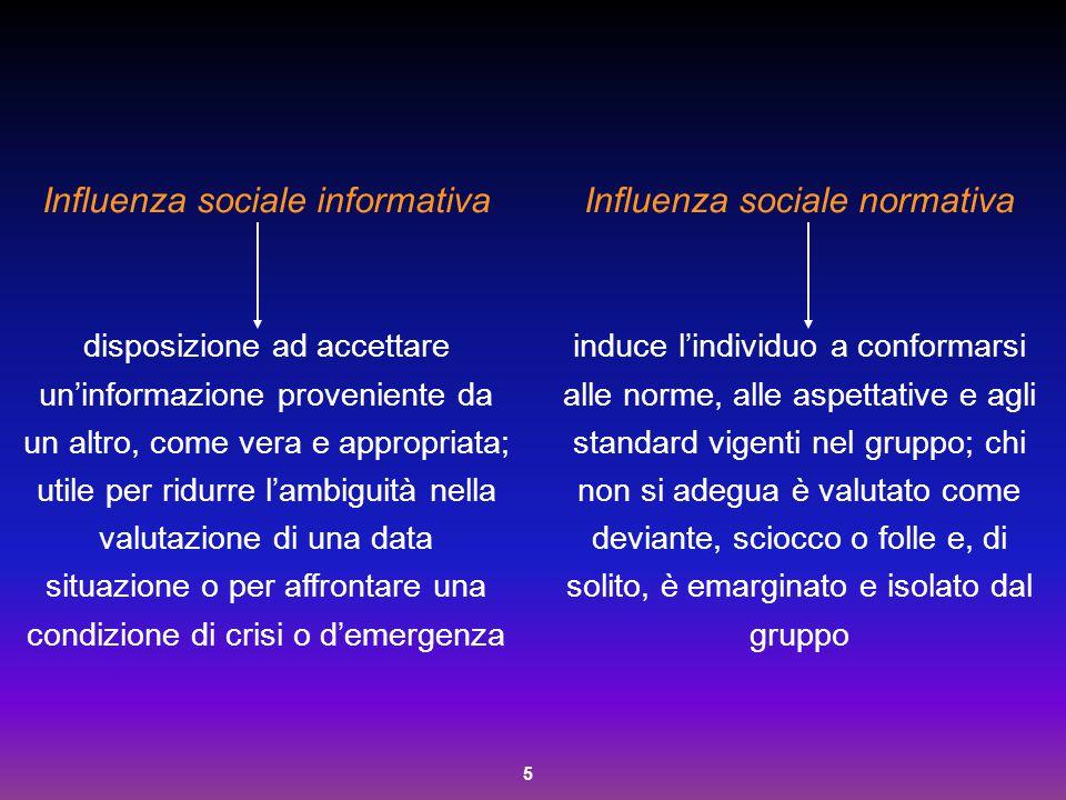 5 Influenza sociale informativa disposizione ad accettare un'informazione proveniente da un altro, come vera e appropriata; utile per ridurre l'ambigu