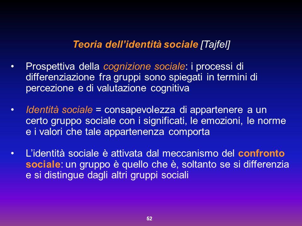 52 Teoria dell'identità sociale [Tajfel] Prospettiva della cognizione sociale: i processi di differenziazione fra gruppi sono spiegati in termini di p