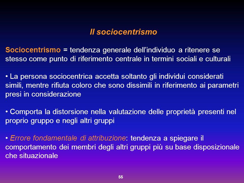 55 Il sociocentrismo Sociocentrismo = tendenza generale dell'individuo a ritenere se stesso come punto di riferimento centrale in termini sociali e cu