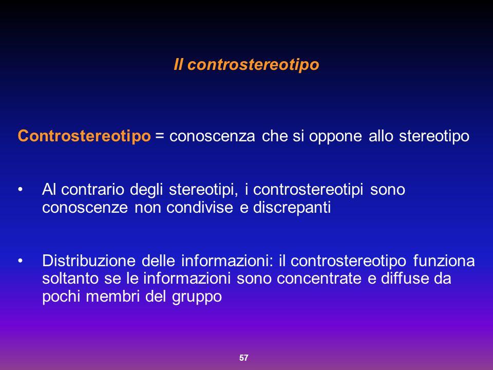57 Il controstereotipo Controstereotipo = conoscenza che si oppone allo stereotipo Al contrario degli stereotipi, i controstereotipi sono conoscenze n
