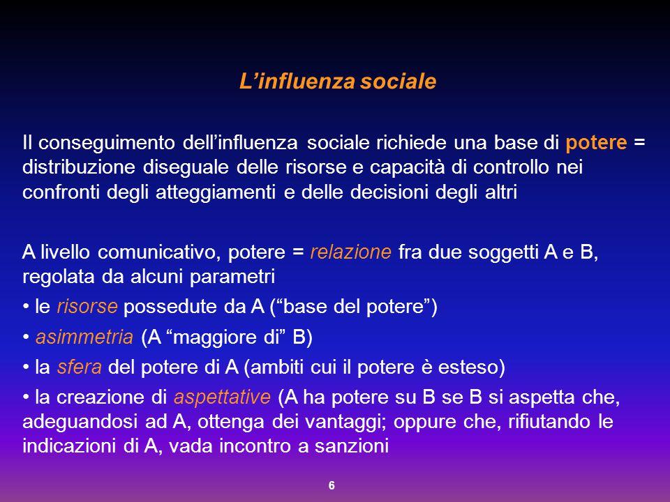 6 L'influenza sociale Il conseguimento dell'influenza sociale richiede una base di potere = distribuzione diseguale delle risorse e capacità di contro