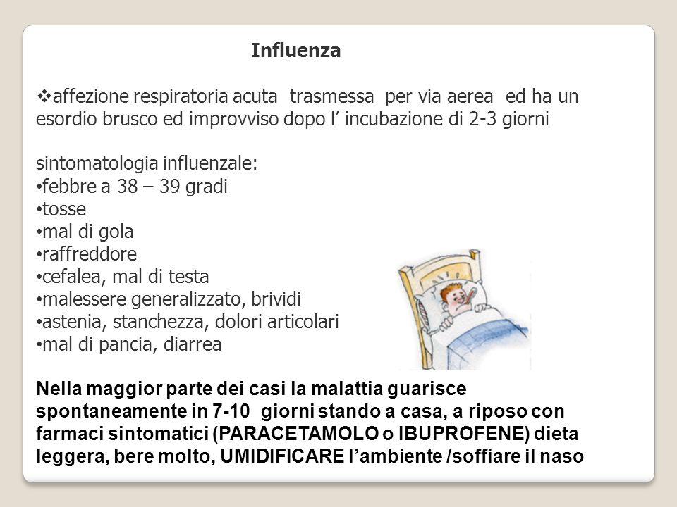 Influenza  affezione respiratoria acuta trasmessa per via aerea ed ha un esordio brusco ed improvviso dopo l' incubazione di 2-3 giorni sintomatologia influenzale: febbre a 38 – 39 gradi tosse mal di gola raffreddore cefalea, mal di testa malessere generalizzato, brividi astenia, stanchezza, dolori articolari mal di pancia, diarrea Nella maggior parte dei casi la malattia guarisce spontaneamente in 7-10 giorni stando a casa, a riposo con farmaci sintomatici (PARACETAMOLO o IBUPROFENE) dieta leggera, bere molto, UMIDIFICARE l'ambiente /soffiare il naso