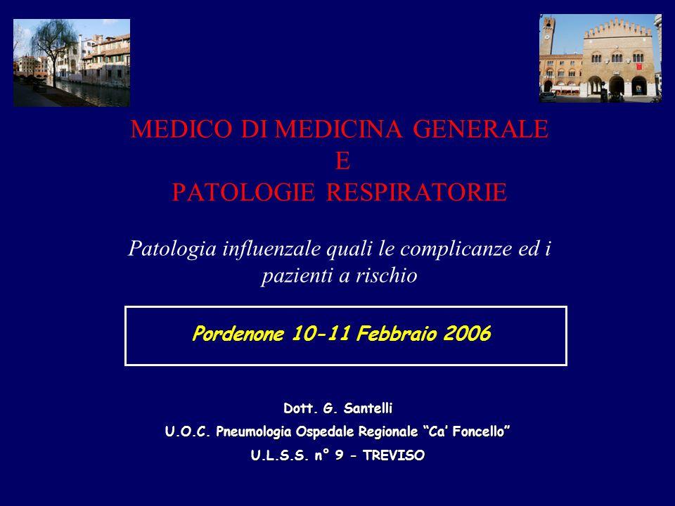 MEDICO DI MEDICINA GENERALE E PATOLOGIE RESPIRATORIE Patologia influenzale quali le complicanze ed i pazienti a rischio Dott. G. Santelli U.O.C. Pneum