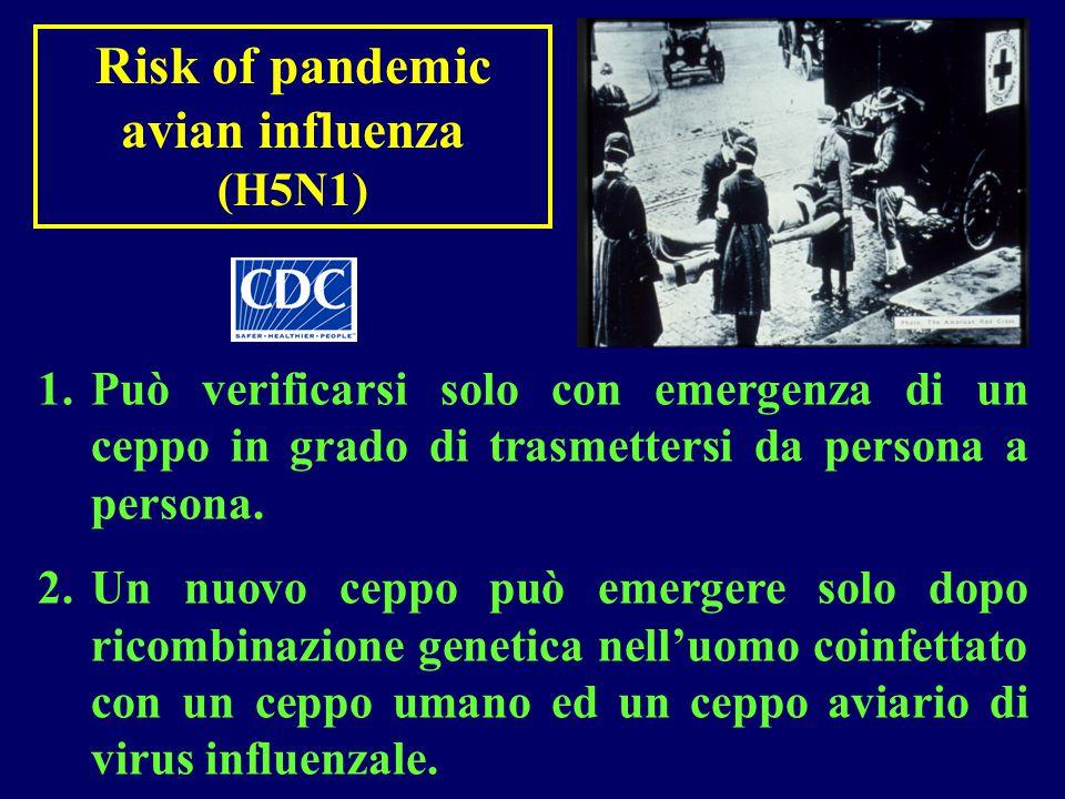 Risk of pandemic avian influenza (H5N1) 1.Può verificarsi solo con emergenza di un ceppo in grado di trasmettersi da persona a persona. 2.Un nuovo cep