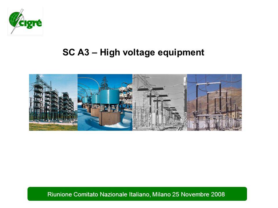 2 Riunione Comitato Nazionale Italiano, Milano 25 Novembre 2008 SC A3 – High voltage equipment Presidente: M.