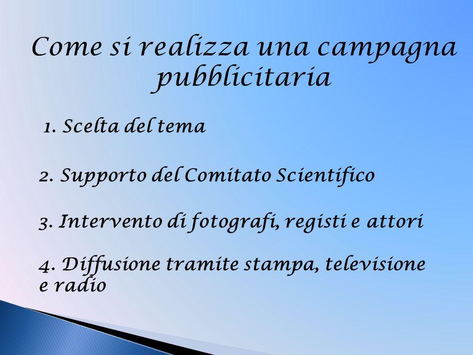 1. Scelta del tema 2. Supporto del Comitato Scientifico 3. Intervento di fotografi, registi e attori 4. Diffusione tramite stampa, televisione e radio