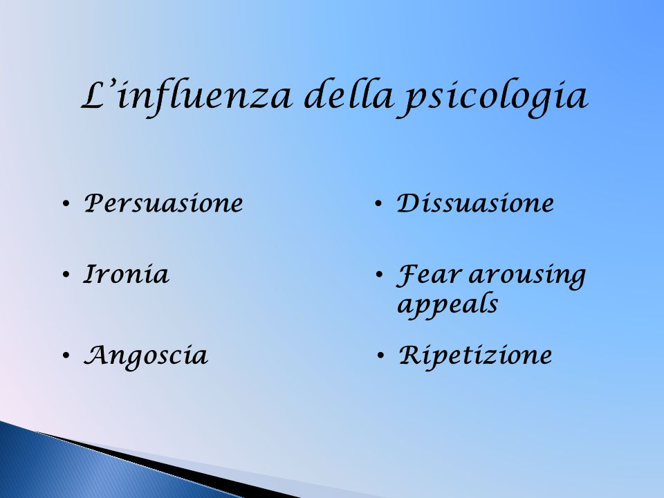 Persuasione Ironia Angoscia Dissuasione Fear arousing appeals Ripetizione