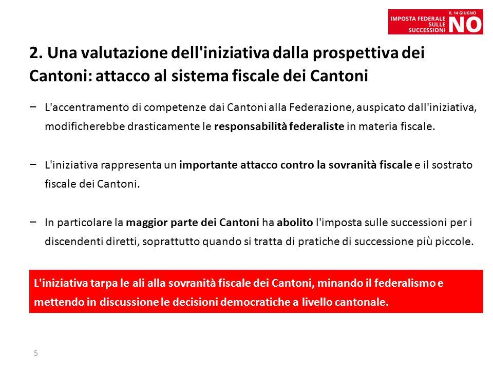2. Una valutazione dell'iniziativa dalla prospettiva dei Cantoni: attacco al sistema fiscale dei Cantoni – L'accentramento di competenze dai Cantoni a
