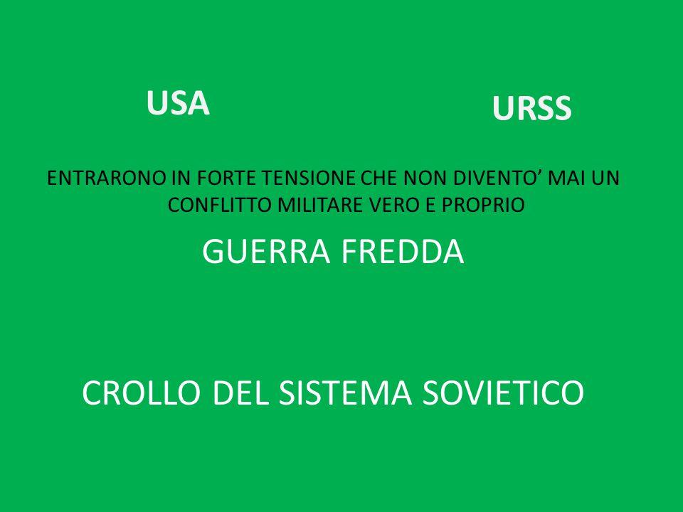 USA ENTRARONO IN FORTE TENSIONE CHE NON DIVENTO' MAI UN CONFLITTO MILITARE VERO E PROPRIO GUERRA FREDDA CROLLO DEL SISTEMA SOVIETICO URSS