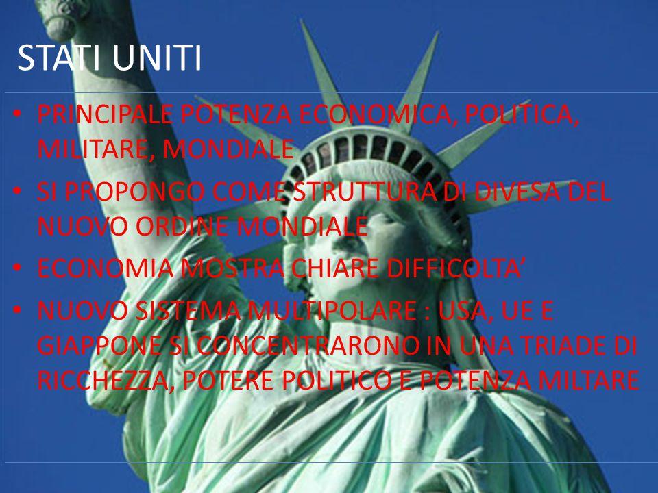 STATI UNITI PRINCIPALE POTENZA ECONOMICA, POLITICA, MILITARE, MONDIALE SI PROPONGO COME STRUTTURA DI DIVESA DEL NUOVO ORDINE MONDIALE ECONOMIA MOSTRA CHIARE DIFFICOLTA' NUOVO SISTEMA MULTIPOLARE : USA, UE E GIAPPONE SI CONCENTRARONO IN UNA TRIADE DI RICCHEZZA, POTERE POLITICO E POTENZA MILTARE