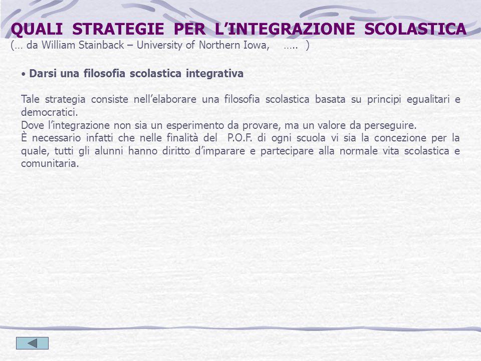 Darsi una filosofia scolastica integrativa Tale strategia consiste nell'elaborare una filosofia scolastica basata su principi egualitari e democratici