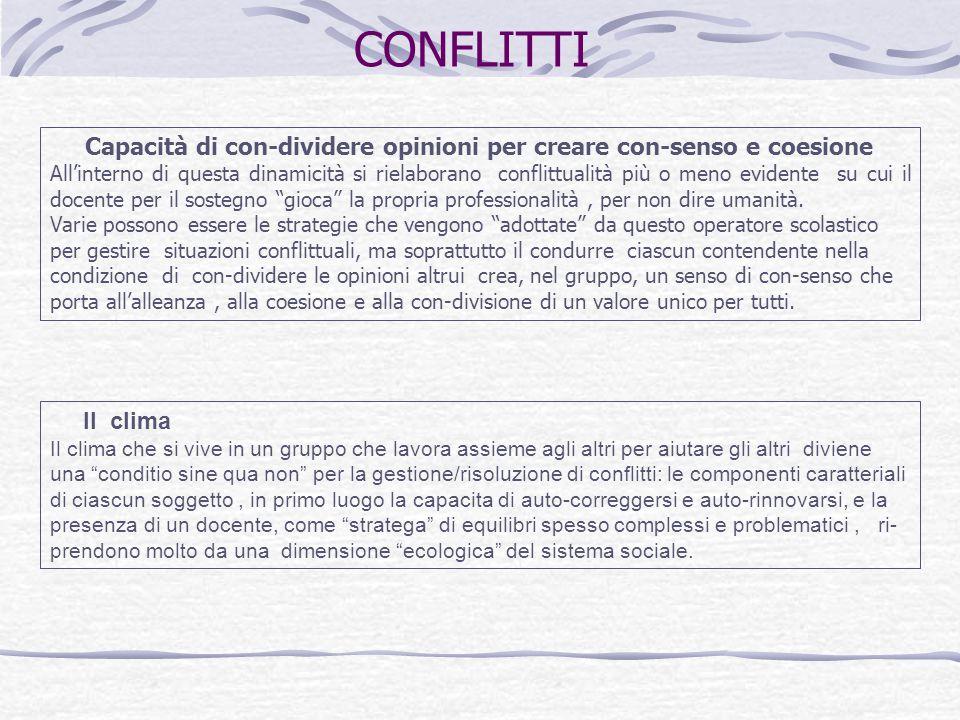 Capacità di con-dividere opinioni per creare con-senso e coesione All'interno di questa dinamicità si rielaborano conflittualità più o meno evidente s