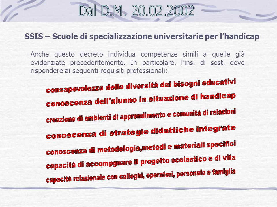 SSIS – Scuole di specializzazione universitarie per l'handicap Anche questo decreto individua competenze simili a quelle già evidenziate precedentemen