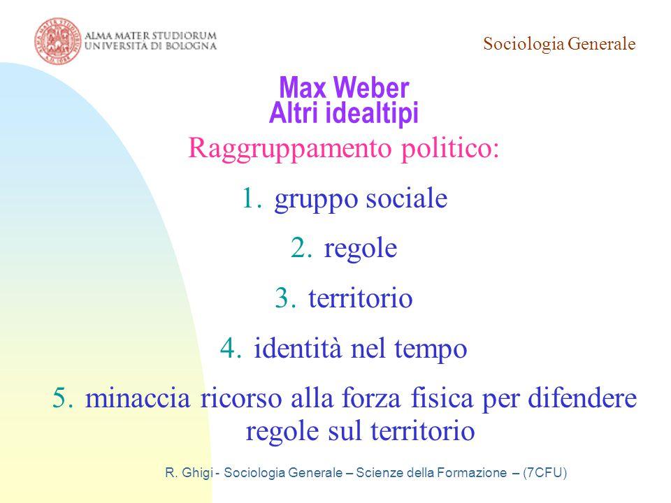 Sociologia Generale R. Ghigi - Sociologia Generale – Scienze della Formazione – (7CFU) Max Weber Altri idealtipi Raggruppamento politico: 1.gruppo soc
