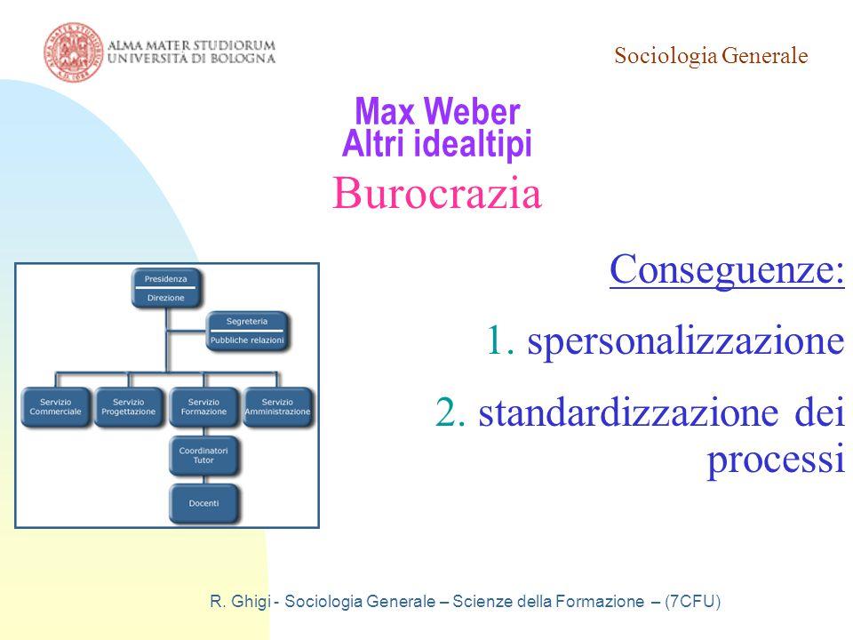Sociologia Generale R. Ghigi - Sociologia Generale – Scienze della Formazione – (7CFU) Max Weber Altri idealtipi Burocrazia Conseguenze: 1.spersonaliz