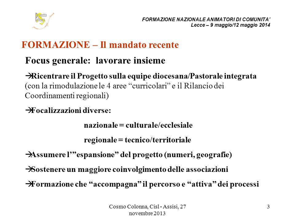 Cosmo Colonna, Cisl - Assisi, 27 novembre 2013 3 FORMAZIONE – Il mandato recente Focus generale: lavorare insieme  Ricentrare il Progetto sulla equip