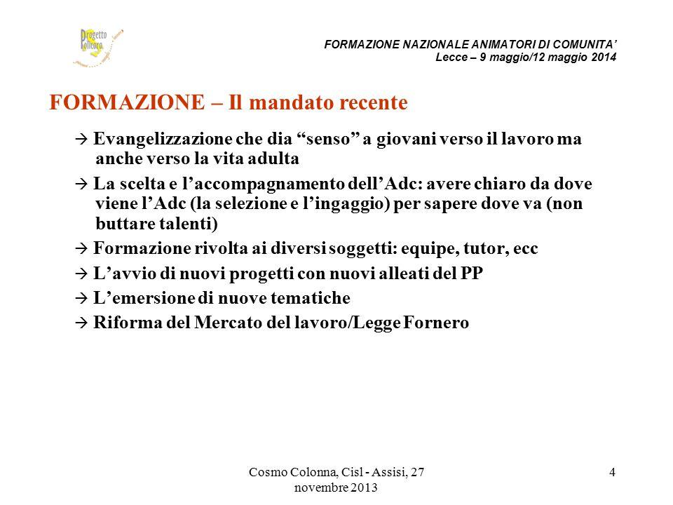 """Cosmo Colonna, Cisl - Assisi, 27 novembre 2013 4  Evangelizzazione che dia """"senso"""" a giovani verso il lavoro ma anche verso la vita adulta  La scelt"""