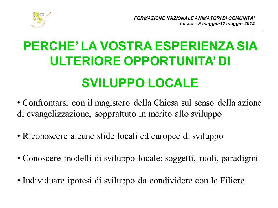 PERCHE' LA VOSTRA ESPERIENZA SIA ULTERIORE OPPORTUNITA' DI SVILUPPO LOCALE FORMAZIONE NAZIONALE ANIMATORI DI COMUNITA' Lecce – 9 maggio/12 maggio 2014