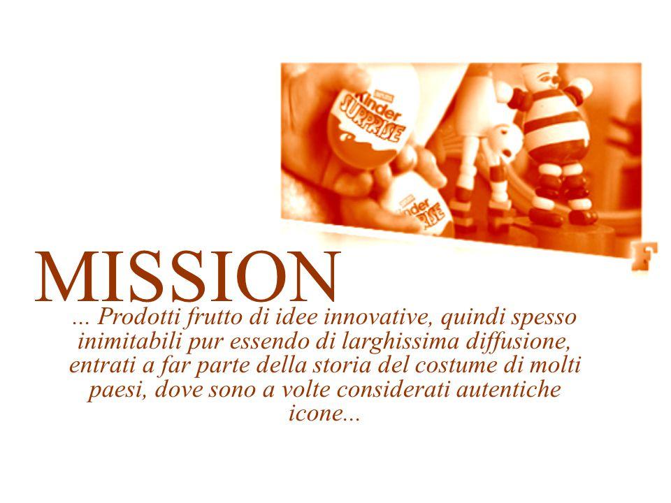 MISSION... Prodotti frutto di idee innovative, quindi spesso inimitabili pur essendo di larghissima diffusione, entrati a far parte della storia del c
