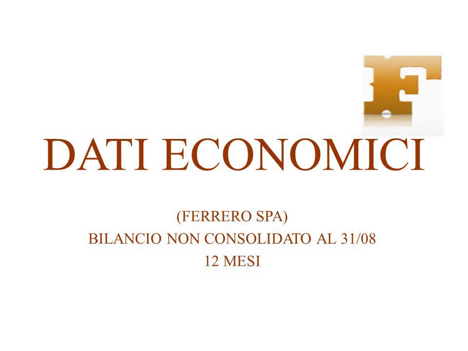 DATI ECONOMICI (FERRERO SPA) BILANCIO NON CONSOLIDATO AL 31/08 12 MESI