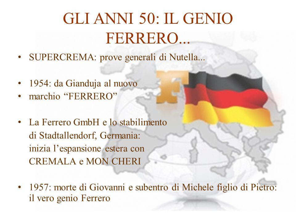 """GLI ANNI 50: IL GENIO FERRERO... SUPERCREMA: prove generali di Nutella... 1954: da Gianduja al nuovo marchio """"FERRERO"""" La Ferrero GmbH e lo stabilimen"""