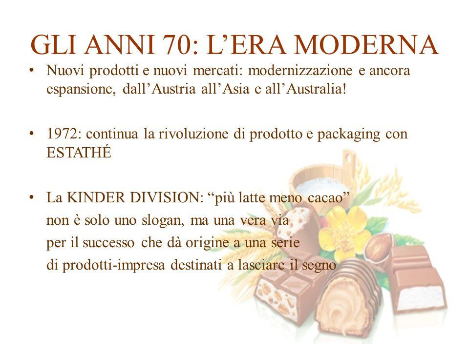 GLI ANNI 70: L'ERA MODERNA Nuovi prodotti e nuovi mercati: modernizzazione e ancora espansione, dall'Austria all'Asia e all'Australia! 1972: continua