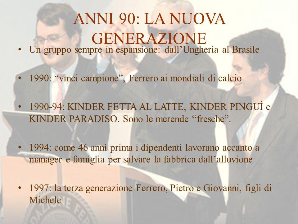 """ANNI 90: LA NUOVA GENERAZIONE Un gruppo sempre in espansione: dall'Ungheria al Brasile 1990: """"vinci campione"""", Ferrero ai mondiali di calcio 1990-94:"""