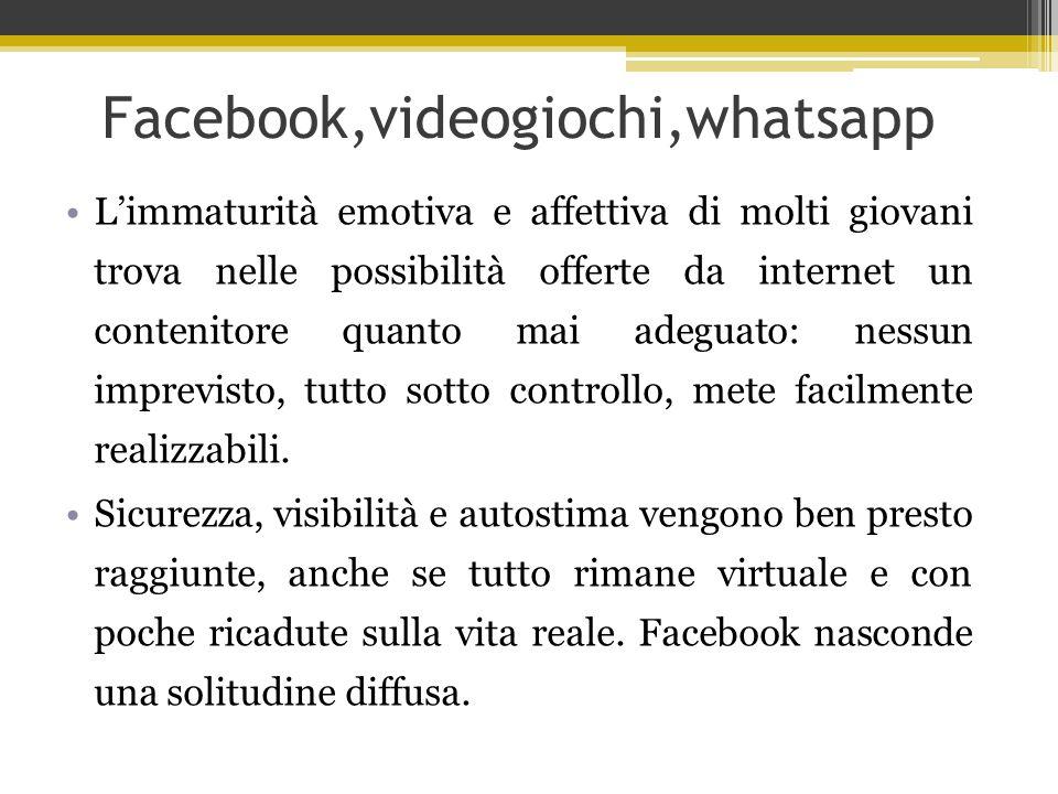Facebook,videogiochi,whatsapp L'immaturità emotiva e affettiva di molti giovani trova nelle possibilità offerte da internet un contenitore quanto mai