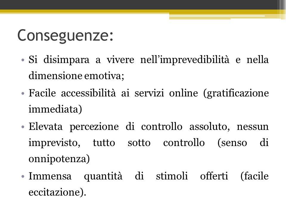 Conseguenze: Si disimpara a vivere nell'imprevedibilità e nella dimensione emotiva; Facile accessibilità ai servizi online (gratificazione immediata)