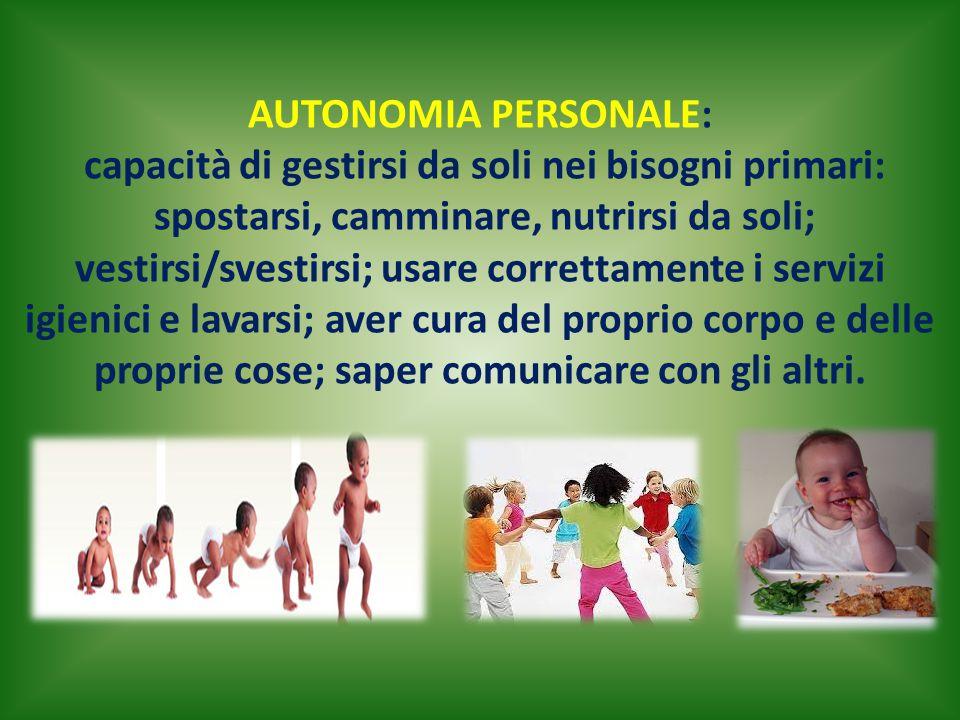 AUTONOMIA PERSONALE: capacità di gestirsi da soli nei bisogni primari: spostarsi, camminare, nutrirsi da soli; vestirsi/svestirsi; usare correttamente