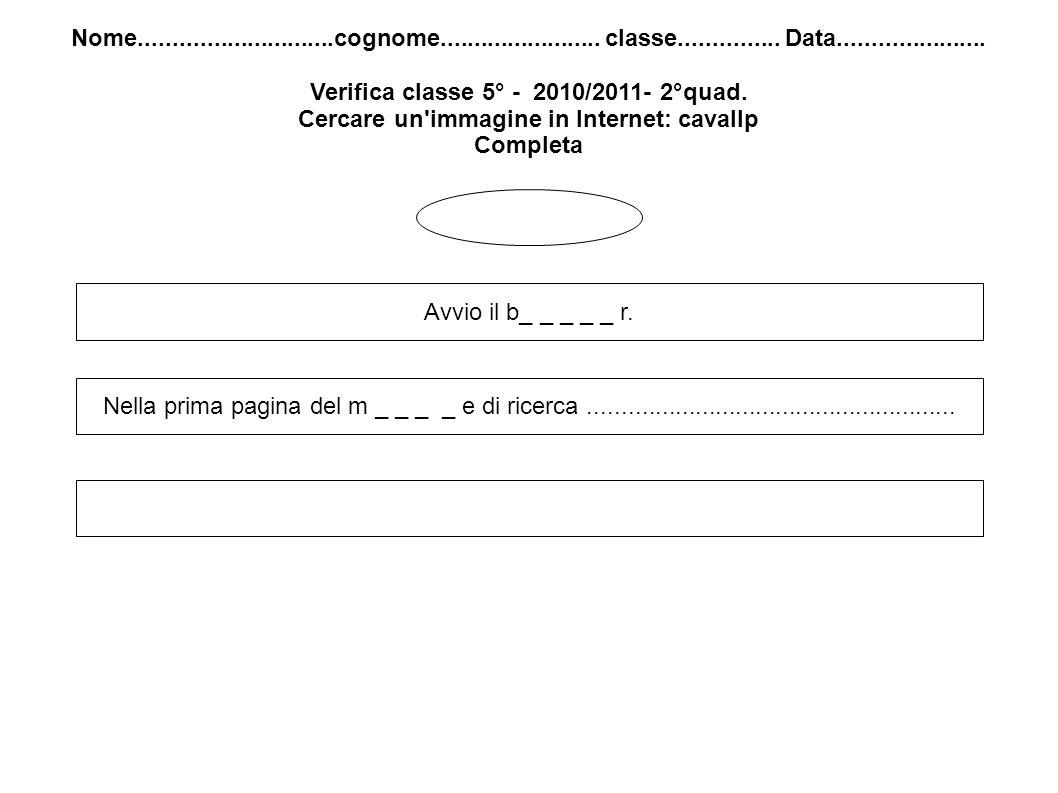 Nome.............................cognome........................ classe............... Data...................... Verifica classe 5° - 2010/2011- 2°qu