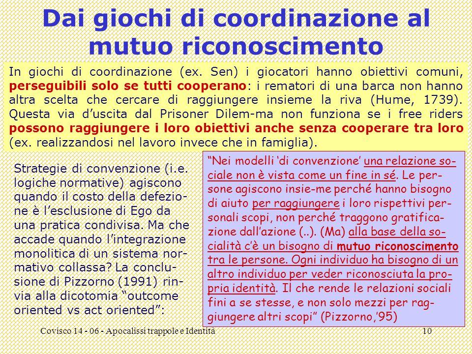 Covisco 14 - 06 - Apocalissi trappole e Identità10 Dai giochi di coordinazione al mutuo riconoscimento In giochi di coordinazione (ex.