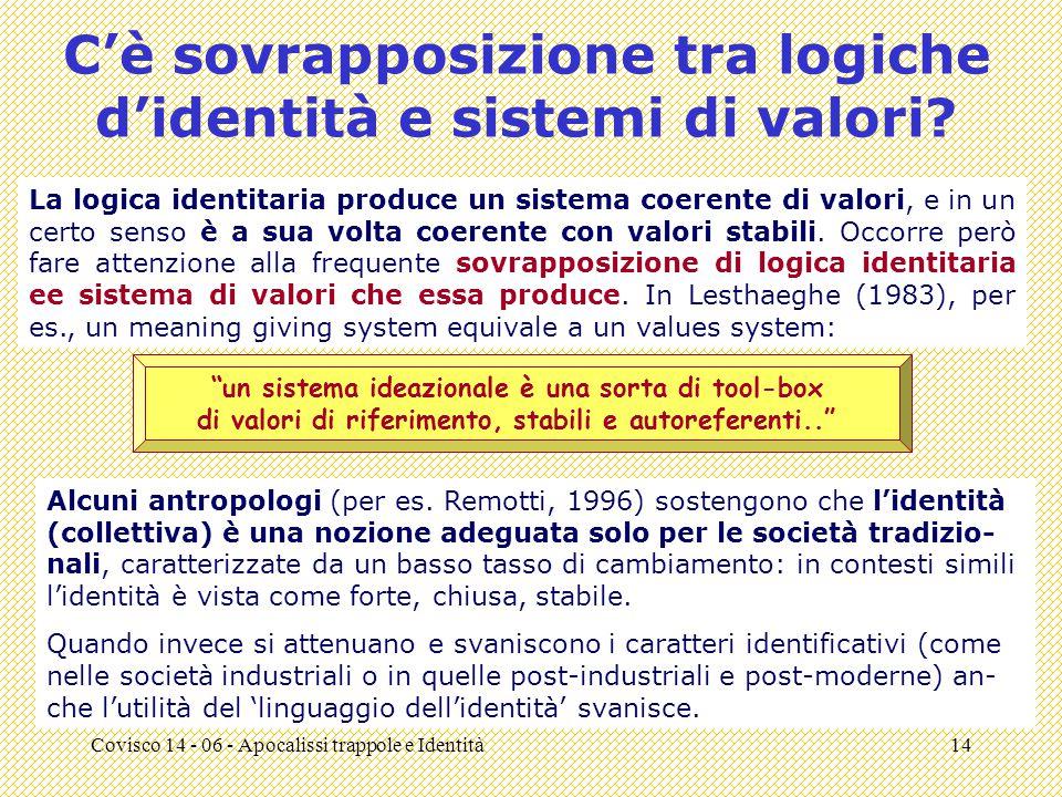 Covisco 14 - 06 - Apocalissi trappole e Identità14 C'è sovrapposizione tra logiche d'identità e sistemi di valori.