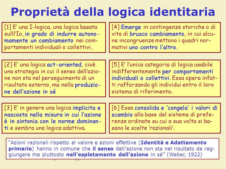 Covisco 14 - 06 - Apocalissi trappole e Identità15 Proprietà della logica identitaria [1] E' una I-logica, una logica basata sulll'Io, in grado di indurre autono- mamente un cambiamento nei com- portamenti individuali o collettivi, [2] E' una logica act-oriented, cioè una strategia in cui il senso dell'azio- ne non sta nel perseguimento di un risultato esterno, ma nella produzio- ne dell'azione in sé [3] E' in genere una logica implicita e nascosta nella misura in cui l'azione è in sintonia con le norme dominan- ti e sembra una logica adattiva.