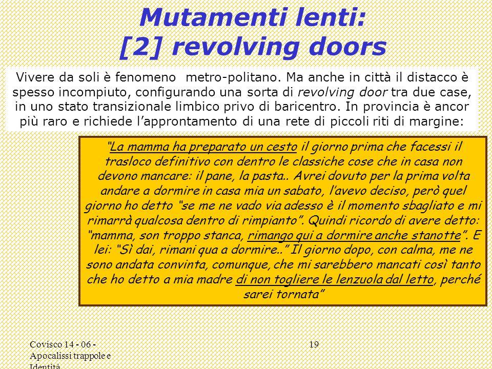 Covisco 14 - 06 - Apocalissi trappole e Identità 19 Mutamenti lenti: [2] revolving doors Vivere da soli è fenomeno metro-politano.