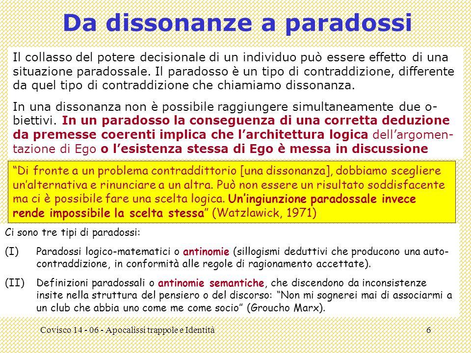 Covisco 14 - 06 - Apocalissi trappole e Identità6 Da dissonanze a paradossi Il collasso del potere decisionale di un individuo può essere effetto di una situazione paradossale.