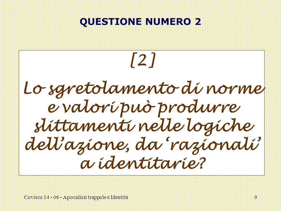 Covisco 14 - 06 - Apocalissi trappole e Identità9 QUESTIONE NUMERO 2 [2] Lo sgretolamento di norme e valori può produrre slittamenti nelle logiche dell'azione, da 'razionali' a identitarie
