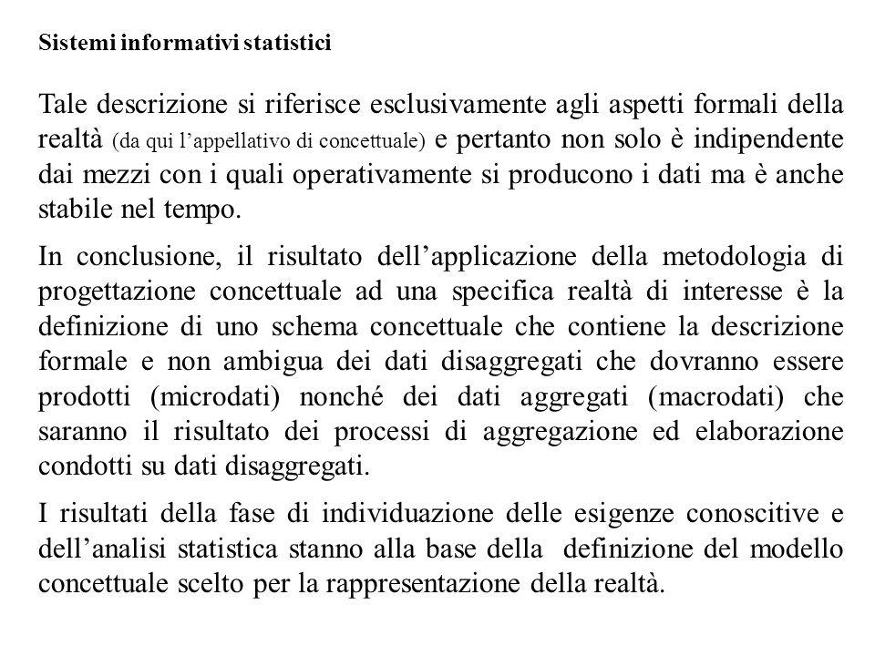 Sistemi informativi statistici Tale descrizione si riferisce esclusivamente agli aspetti formali della realtà (da qui l'appellativo di concettuale) e pertanto non solo è indipendente dai mezzi con i quali operativamente si producono i dati ma è anche stabile nel tempo.