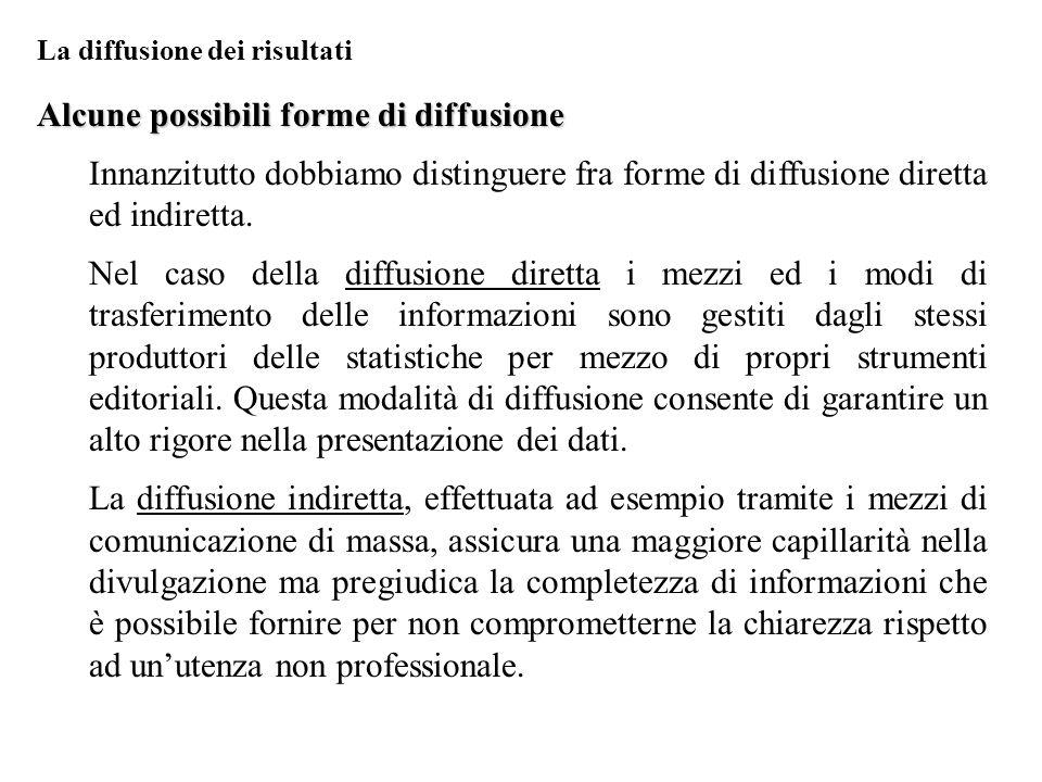 Alcune possibili forme di diffusione Innanzitutto dobbiamo distinguere fra forme di diffusione diretta ed indiretta. Nel caso della diffusione diretta