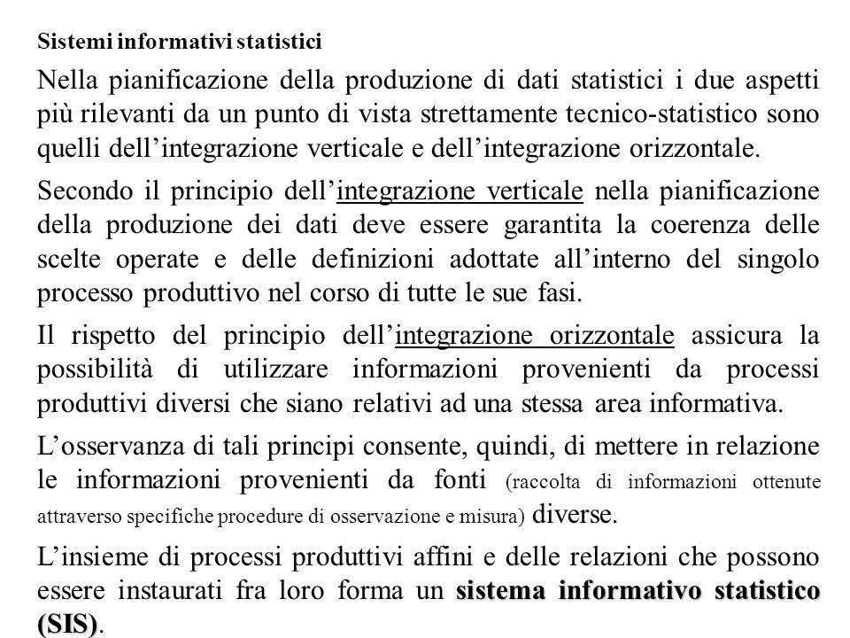 Sistemi informativi statistici Nella pianificazione della produzione di dati statistici i due aspetti più rilevanti da un punto di vista strettamente tecnico-statistico sono quelli dell'integrazione verticale e dell'integrazione orizzontale.