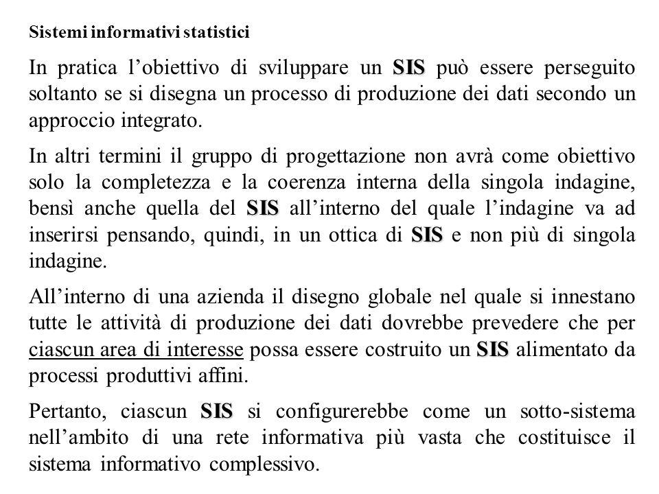 Sistemi informativi statistici SIS In pratica l'obiettivo di sviluppare un SIS può essere perseguito soltanto se si disegna un processo di produzione dei dati secondo un approccio integrato.