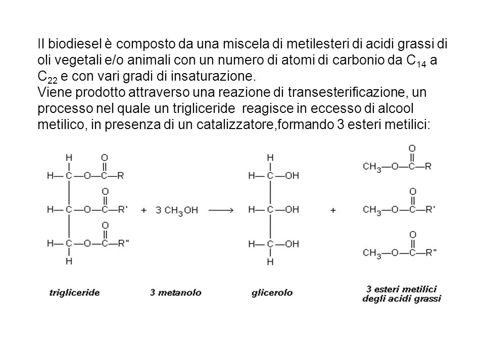 Il biodiesel è composto da una miscela di metilesteri di acidi grassi di oli vegetali e/o animali con un numero di atomi di carbonio da C 14 a C 22 e