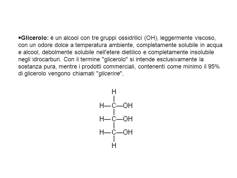 Glicerolo: è un alcool con tre gruppi ossidrilici (OH), leggermente viscoso, con un odore dolce a temperatura ambiente, completamente solubile in ac