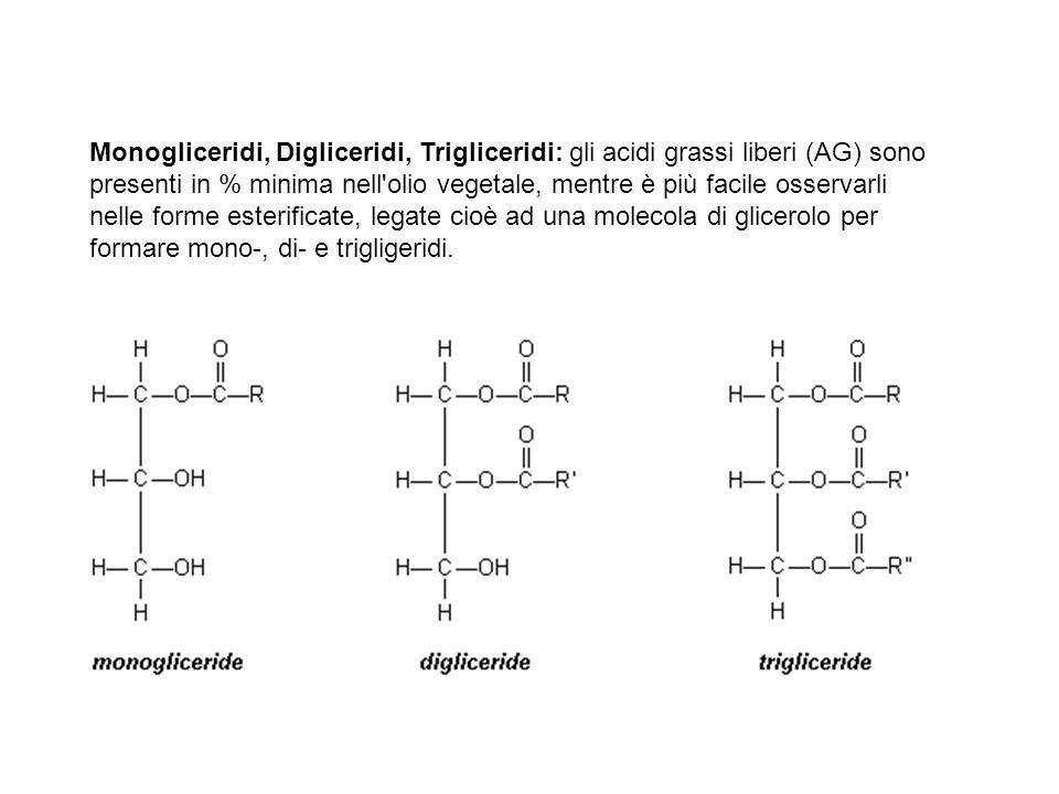 Monogliceridi, Digliceridi, Trigliceridi: gli acidi grassi liberi (AG) sono presenti in % minima nell'olio vegetale, mentre è più facile osservarli ne