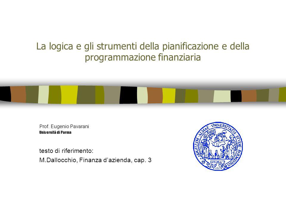La logica e gli strumenti della pianificazione e della programmazione finanziaria Prof. Eugenio Pavarani Università di Parma testo di riferimento: M.D