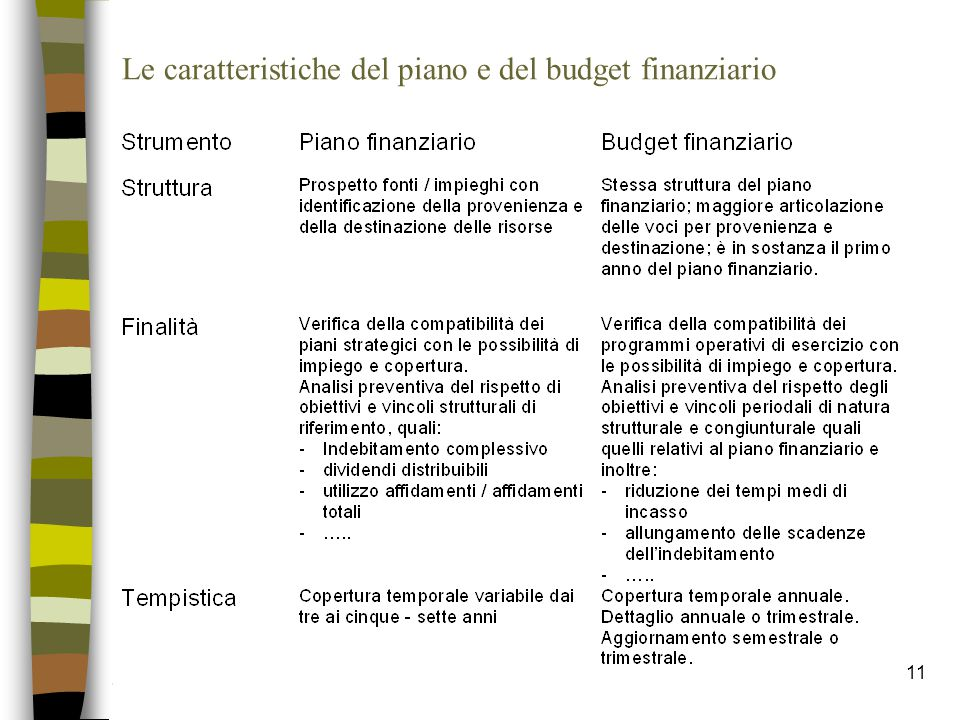 11 Le caratteristiche del piano e del budget finanziario