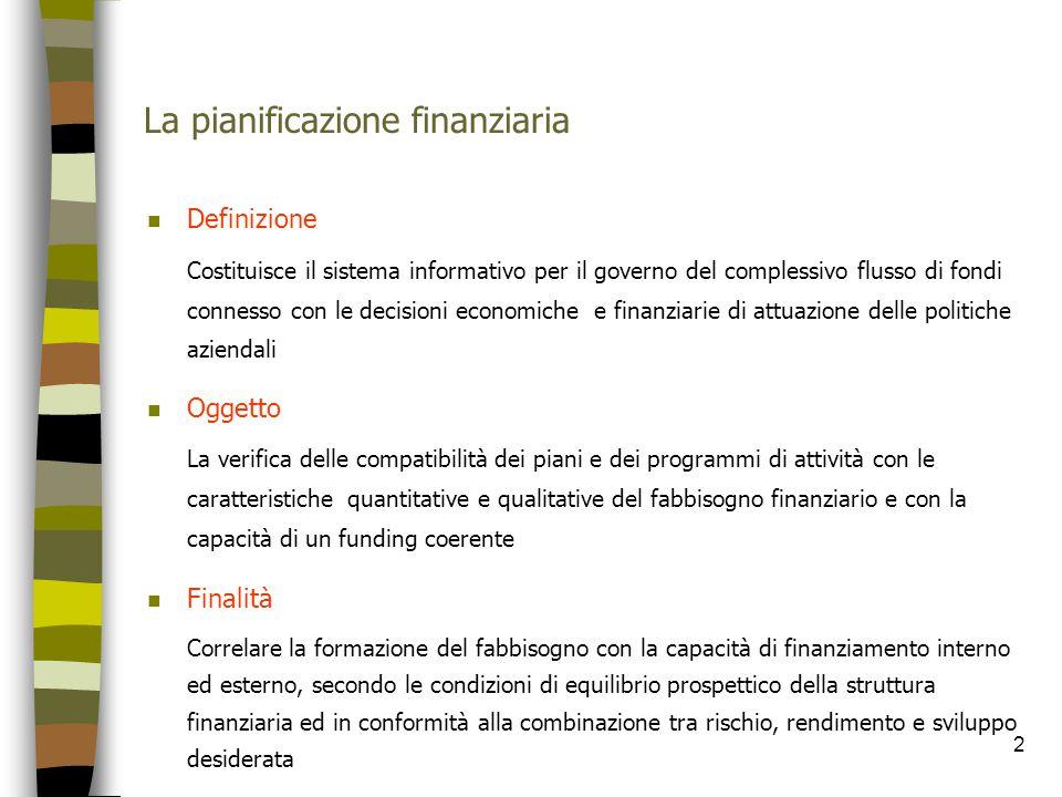 2 La pianificazione finanziaria n Definizione Costituisce il sistema informativo per il governo del complessivo flusso di fondi connesso con le decisi