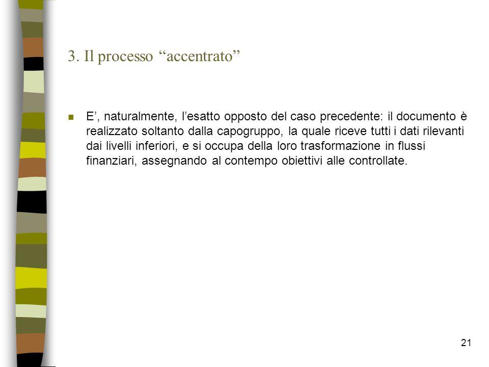 """21 3. Il processo """"accentrato"""" n E', naturalmente, l'esatto opposto del caso precedente: il documento è realizzato soltanto dalla capogruppo, la quale"""