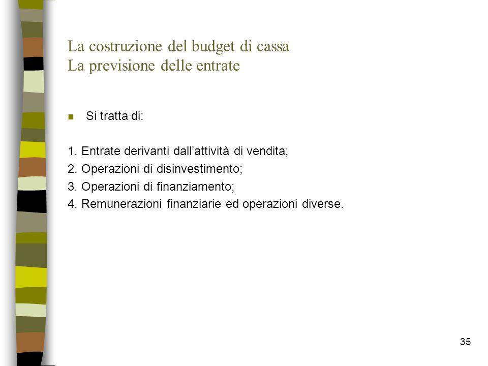 35 La costruzione del budget di cassa La previsione delle entrate n Si tratta di: 1. Entrate derivanti dall'attività di vendita; 2. Operazioni di disi