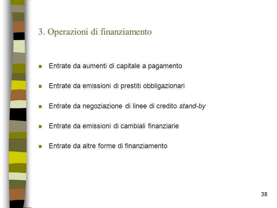 38 3. Operazioni di finanziamento n Entrate da aumenti di capitale a pagamento n Entrate da emissioni di prestiti obbligazionari n Entrate da negoziaz